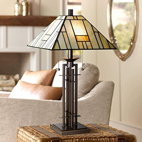 Tiffany Style Table Lamp Art Deco Wrought Iron Bronze Stained Gla