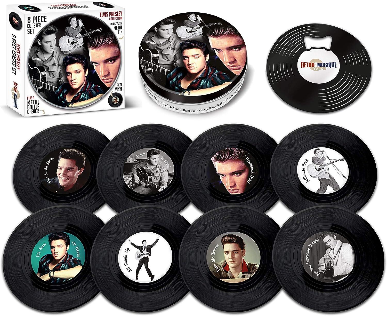 Retro Musique - Juego de 8 posavasos de vinilo con lata y abridor de botellas magnético de Elvis Presley