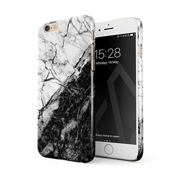 sports shoes 1f737 4a336 BURGA Phone Case Compatible with iPhone 6 / 6s, Fatal Contradiction Black  and White Marble Yin and Yang Thin Design Durable Hard Plastic Protective  ...