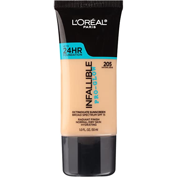 L'Oreal Paris Makeup Infallible Up to 24HR Pro-Glow Foundation, 205 Natural Beige, 1
