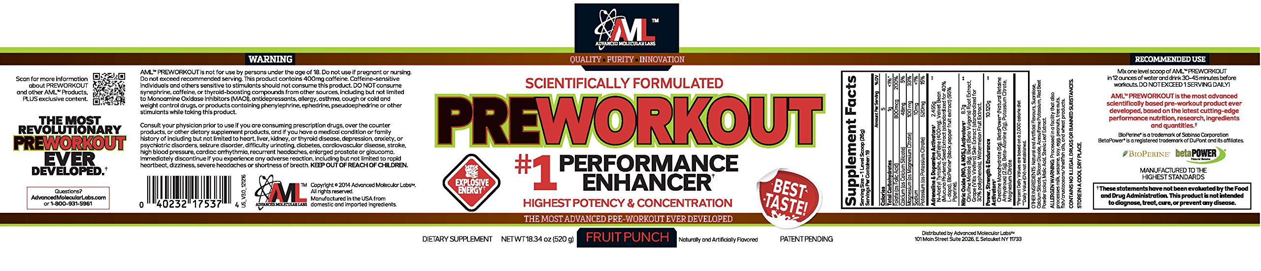 Advanced Molecular Labs Preworkout Stack, Fruit Punch Powder 18.34oz 520 Grams & Power Rep 60 Caps , with 8g Citrulline Malate, 5g Creatine - WITH FREE BLENDER BOTTLE & 2 TRAVEL SAMPLES by Advanced Molecular Labs (Image #1)