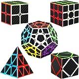 Dreampark Speed Cube Bundle [5 Pack] 2x2 3x3 Megaminx Skewb Pyramid Carbon Fiber Sticker Magic Cube Puzzle Toy Set of 5