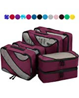 6 Set Packing Cubes,3 Various Sizes Travel Luggage Packing Organizers