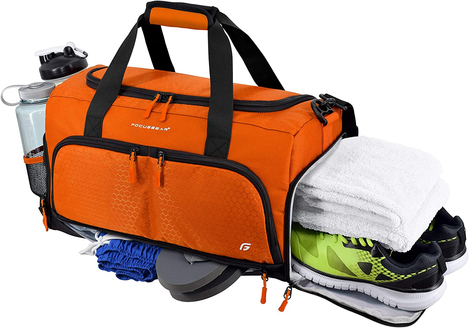 "Ultimate Gym Bag 2.0: The Durable Crowdsource Designed Duffel Bag with 10 Optimal Compartments Including Water Resistant Pouch (Orange, Medium (20""))"