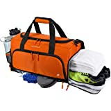 """Ultimate Gym Bag 2.0: The Durable Crowdsource Designed Duffel Bag with 10 Optimal Compartments Including Water Resistant Pouch (Orange, Medium (20""""))"""