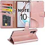Arae Wallet Case for Samsung Galaxy Note 10 / Note 10 5G with Wrist Strap and Credit Card Holders, Rose Gold