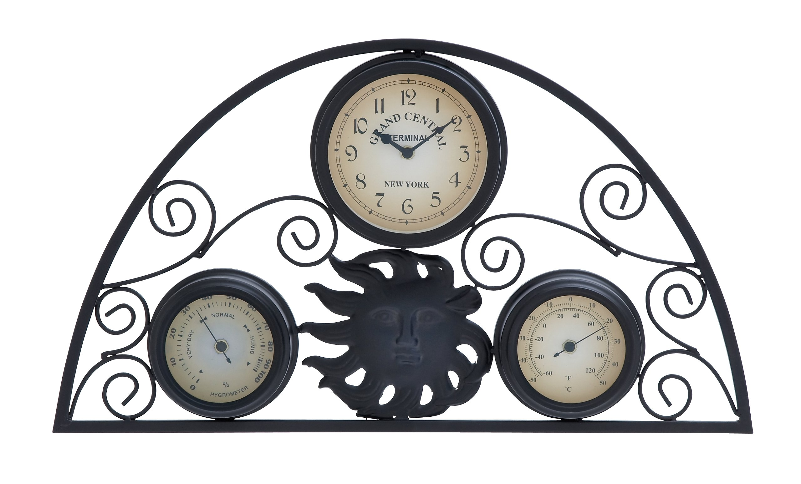 Plutus Brands Metal Clock Thermometer with Distinctive Pattern
