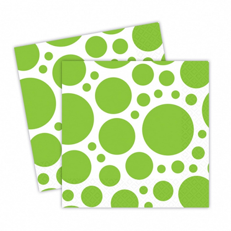 Amscan Vert Kiwi 33 x 33 cm 999326-20 Serviettes /à Points
