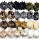 Jolitac 24 Pieces Faux Fox Fur Pom Pom Balls 4 Inch Large DIY Fur Pom Poms for Hats Shoes Scarves Bag Pompoms Keychain Charms Knitting Hat Accessories (12 Colors, 24 Pcs)