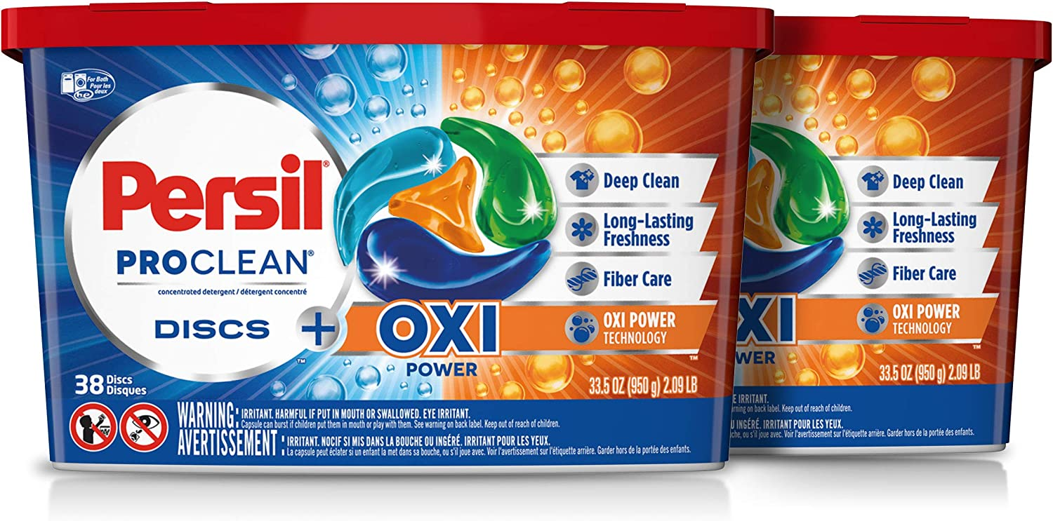 Persil ProClean Laundry Detergent Discs, Oxi, 38 Count, Pack of 2, 76 Total Loads