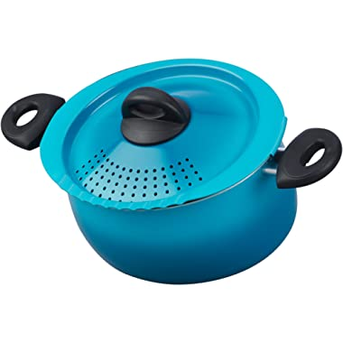 Bialetti 07548 Oval 5 Quart Pasta Pot with Strainer Lid, Nonstick, Coastal Blue