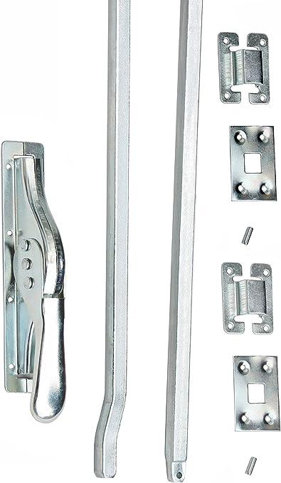1 Set Tortreibriegel Torverschluss Türtreibriegel Stangen 2540//14mm Siber Verz..
