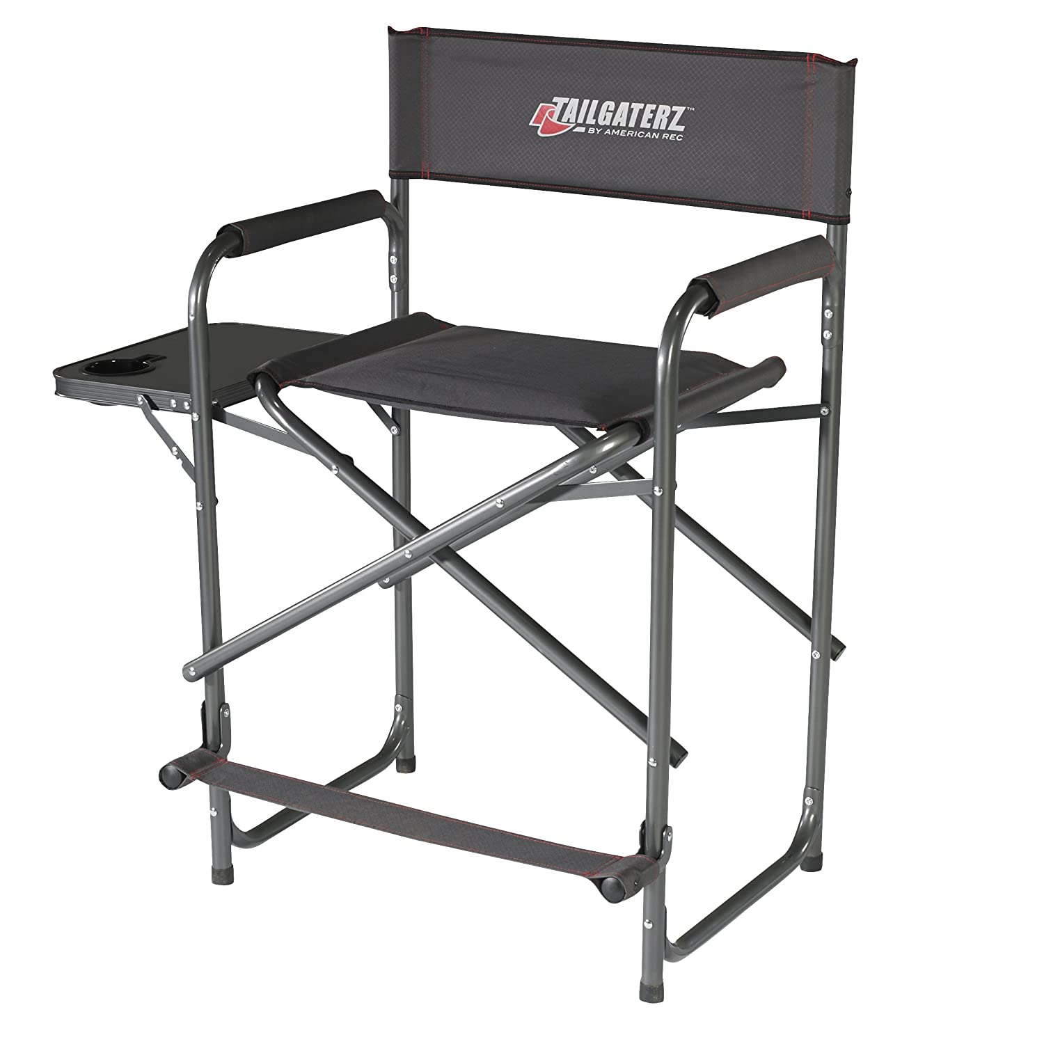 amazoncom tailgaterz takeout seat steel chair with side table game day graphite sports u0026 outdoors