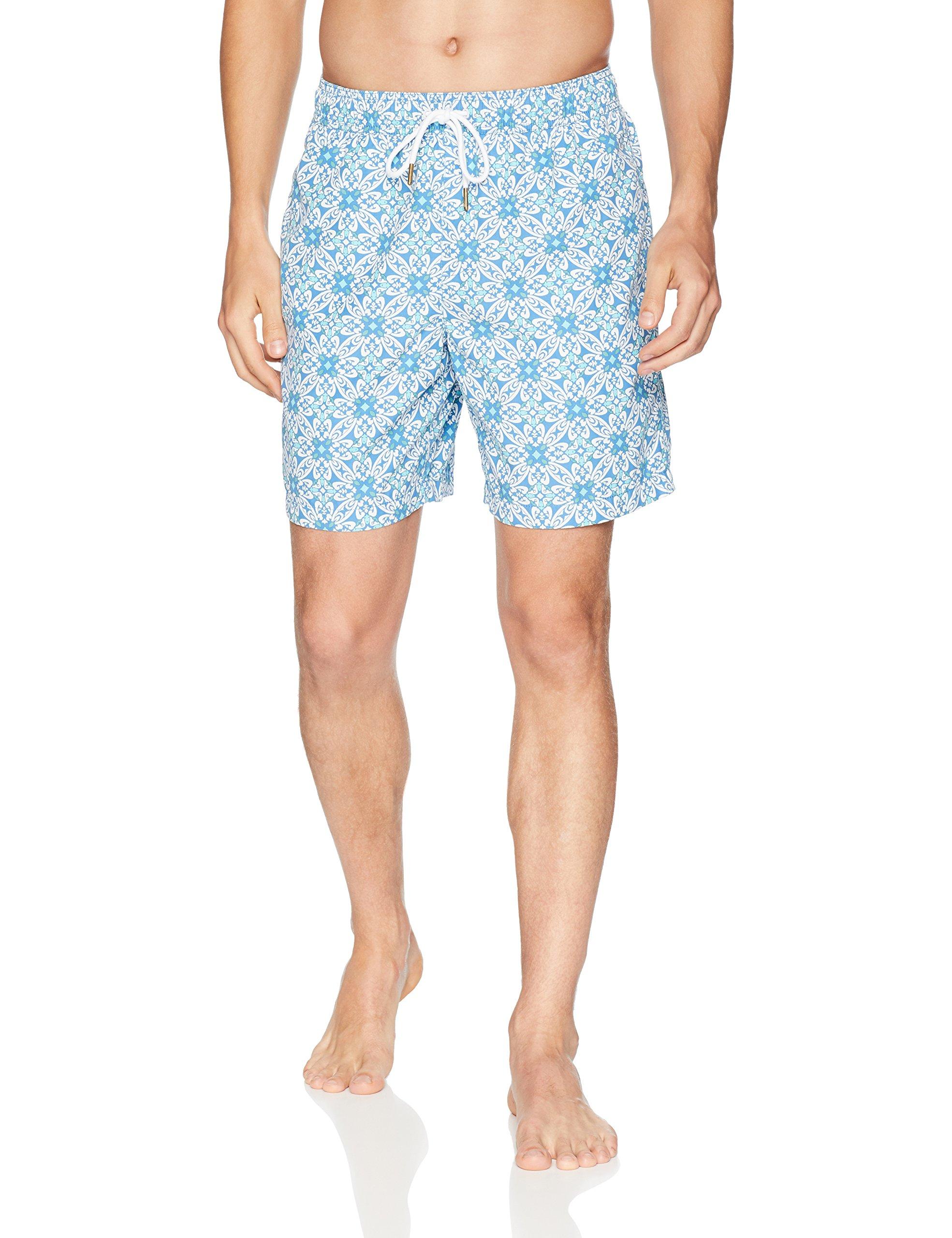 Goodthreads Men's 7'' Inseam Swim Trunk, Blue Tile, Large