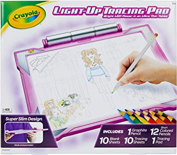 Amazon Com Crayola Light Up Tracing Pad Pink Amz Exclusive At Home Kids Toys Gift For Girls Boys Age 6 Toys Games