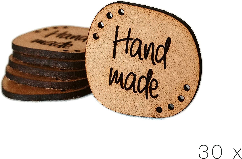 15 pi/èces Exclusif grav/é v/éritable Cuir Italien balises Fait /à la Main en Cuir /étiquettes C handmade