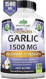 Odorless Pure Garlic 1,500 mg per Soft Gel Maximum Strength 150