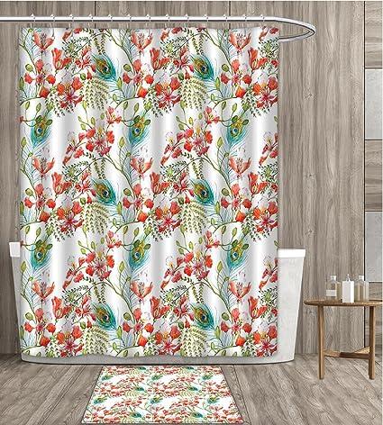 Sunsunshine Spring Shower Curtain 3D Digital Printing Peacock Feather Petunia Blossom Field Seasonal Blush Botanical Leaves