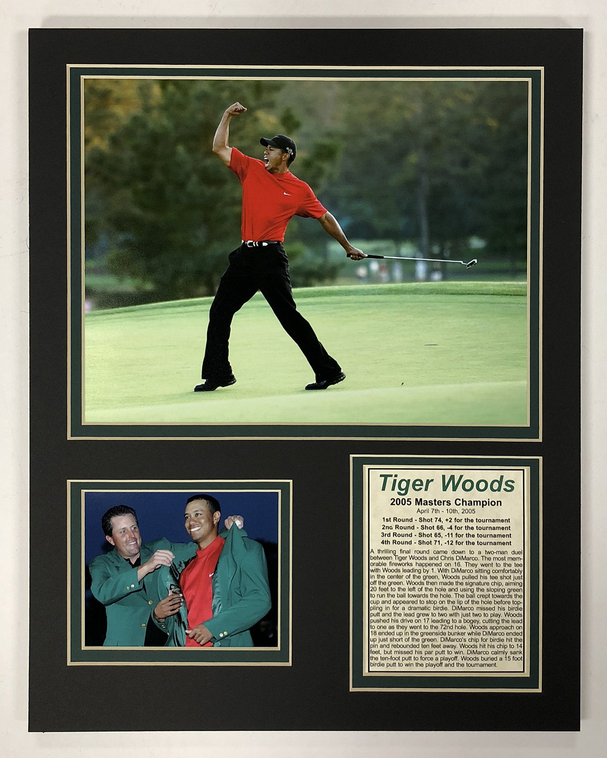 Legends Never Die Tiger Woods - 2005 Masters Champion - 11'' x 14'' Unframed Matted Photo Collage
