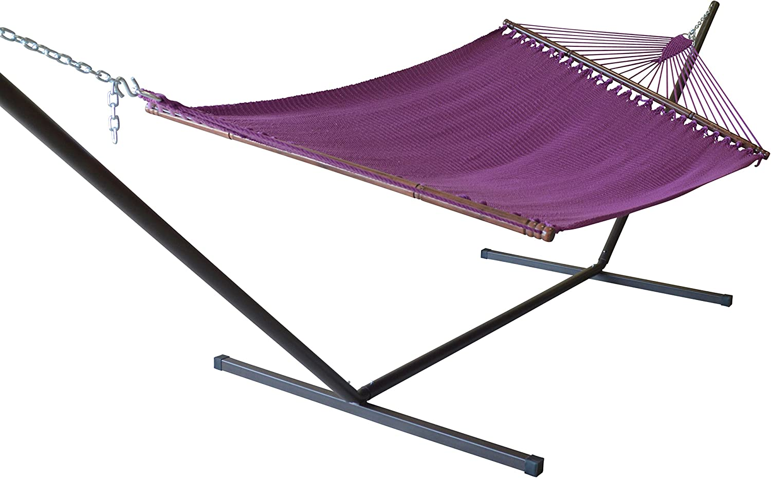 Caribbean Hammocks Jumbo Hammock and 15 ft Tribeam Stand - Purple