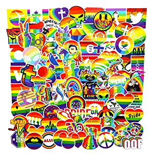 Water Bottle Stickers Gay Pride Lover Stickers 100 pcs Bright Technicolor Rainbow Stickers Car Bike Scooter Suitcase Phone Refrigerator Laptop Cup Motorcycle Walls Bedroom Furniture Stickers
