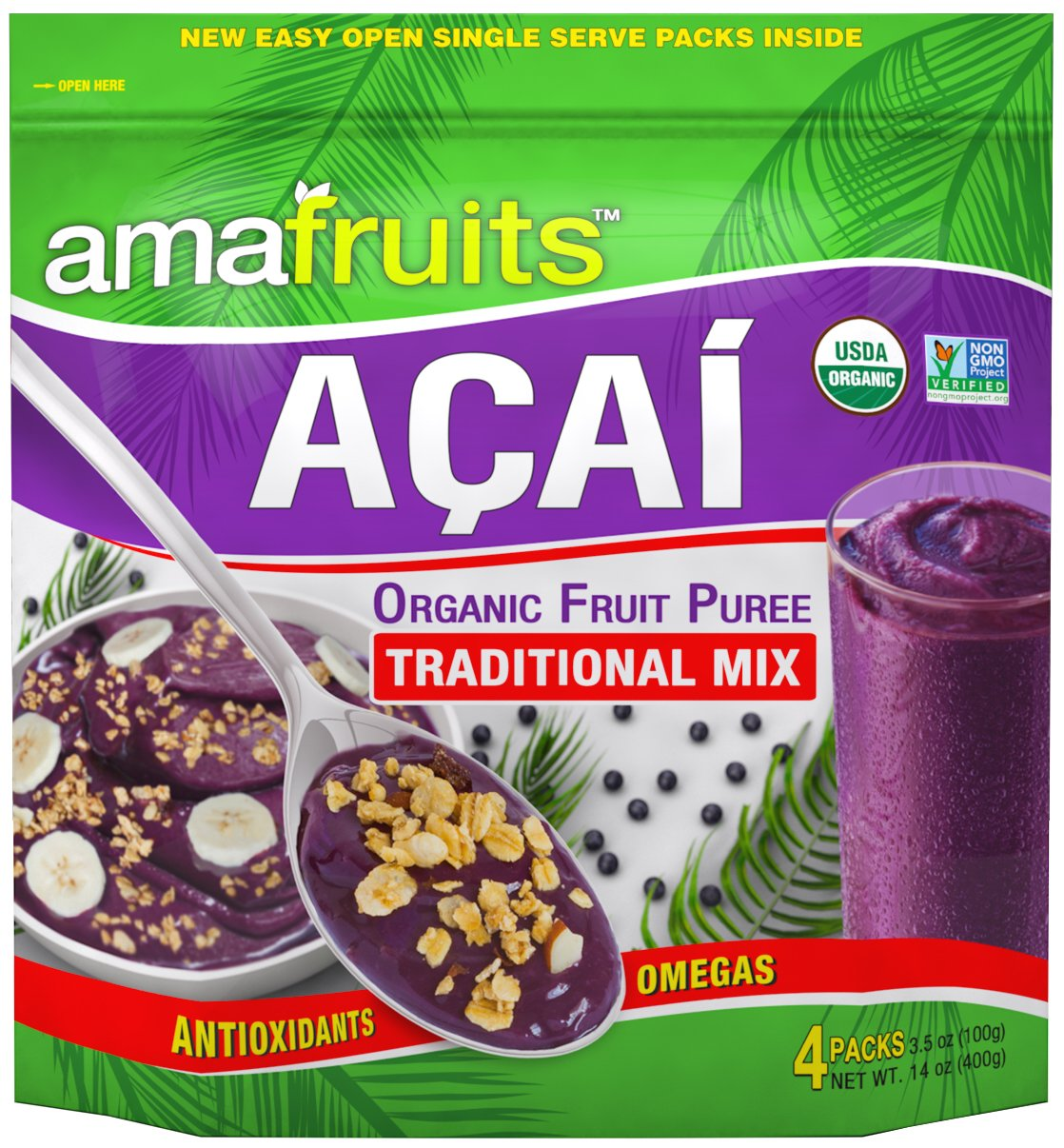 Amafruits Acai Traditional Mix with Guarana - 144 Smoothie Packs by Amafruits