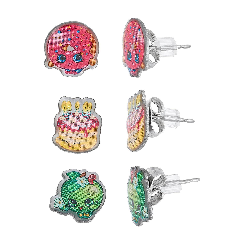 Shopkins Stainless Steel Trio Earrings Set D'Lish Donut , Wishes , Apple Blossom