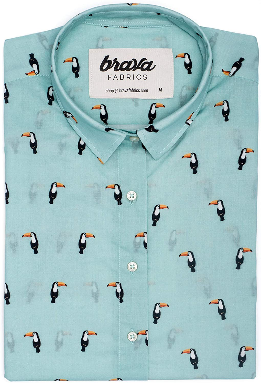 Brava Fabrics | Blusa para Mujer | Camisa Azul Estampada para Mujer | Modelo Tropical Tucan | Talla XS: Amazon.es: Ropa y accesorios