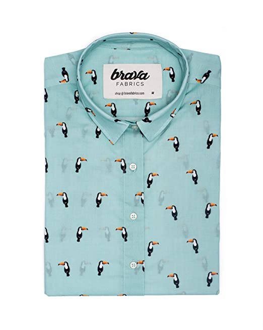 Brava Fabrics Blusa de Rayas Azul y Blanca para Mujer