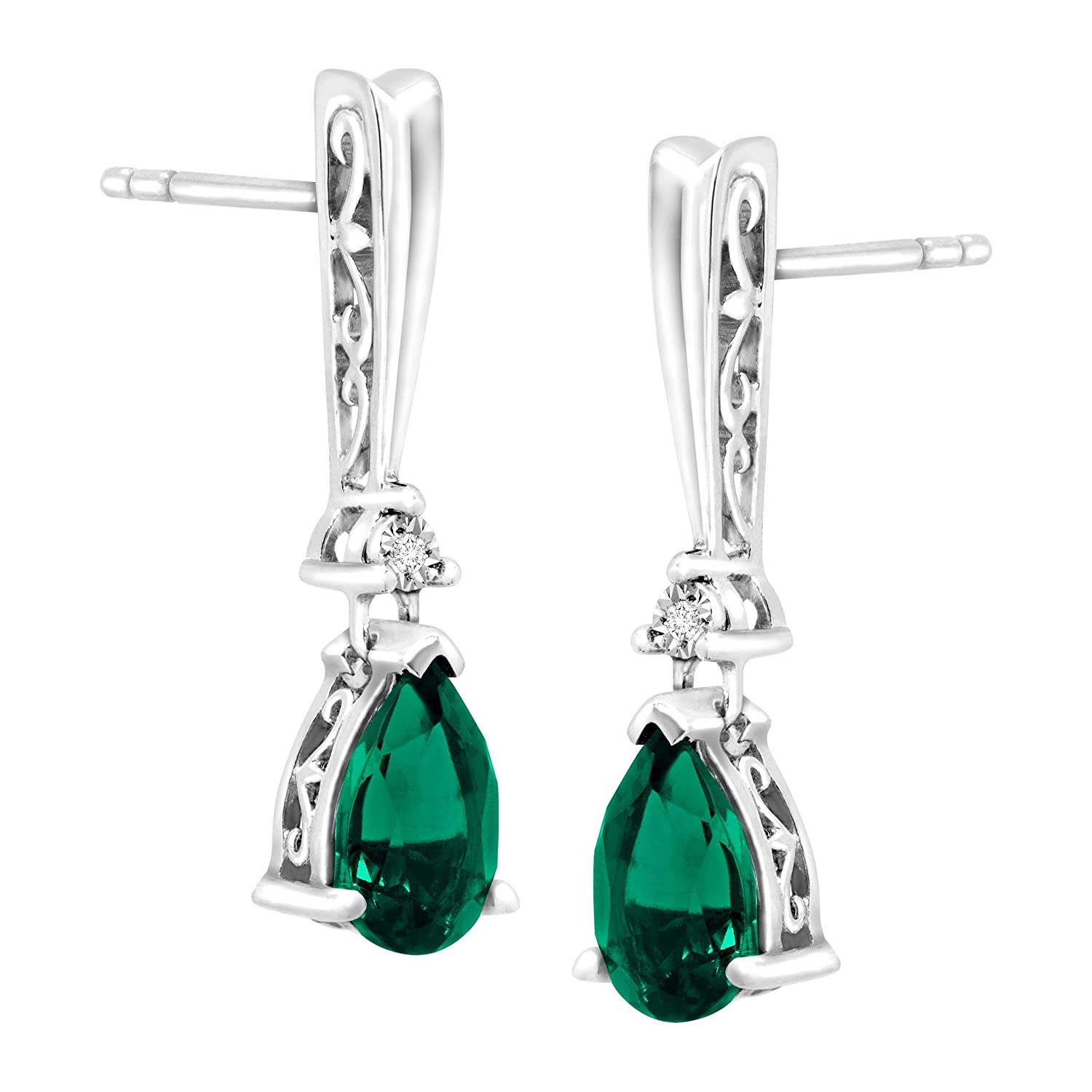 5dc016e13 Amazon.com: 1 3/4 ct Created Emerald Drop Earrings with Diamonds in Sterling  Silver: Jewelry