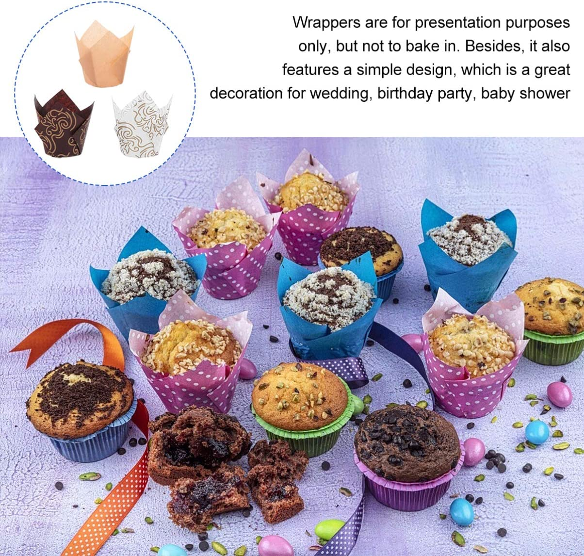 EXCEART 150pcs Cupcake Wrappers Printed Gold Tulip Cupcake Liners Paper Oil-Proof Baking Cups Muffin Cases Molds for Birthday Party