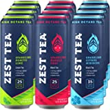 Sparkling Energy Tea Variety Pack | High Caffeine Ice Tea | Low Calories & Low Sugar | No Jitters & No Crash | Citrus Hibiscus, Masala Chai, Pomegranate Lime | 12 x 12oz | 137-150mg Natural Caffeine