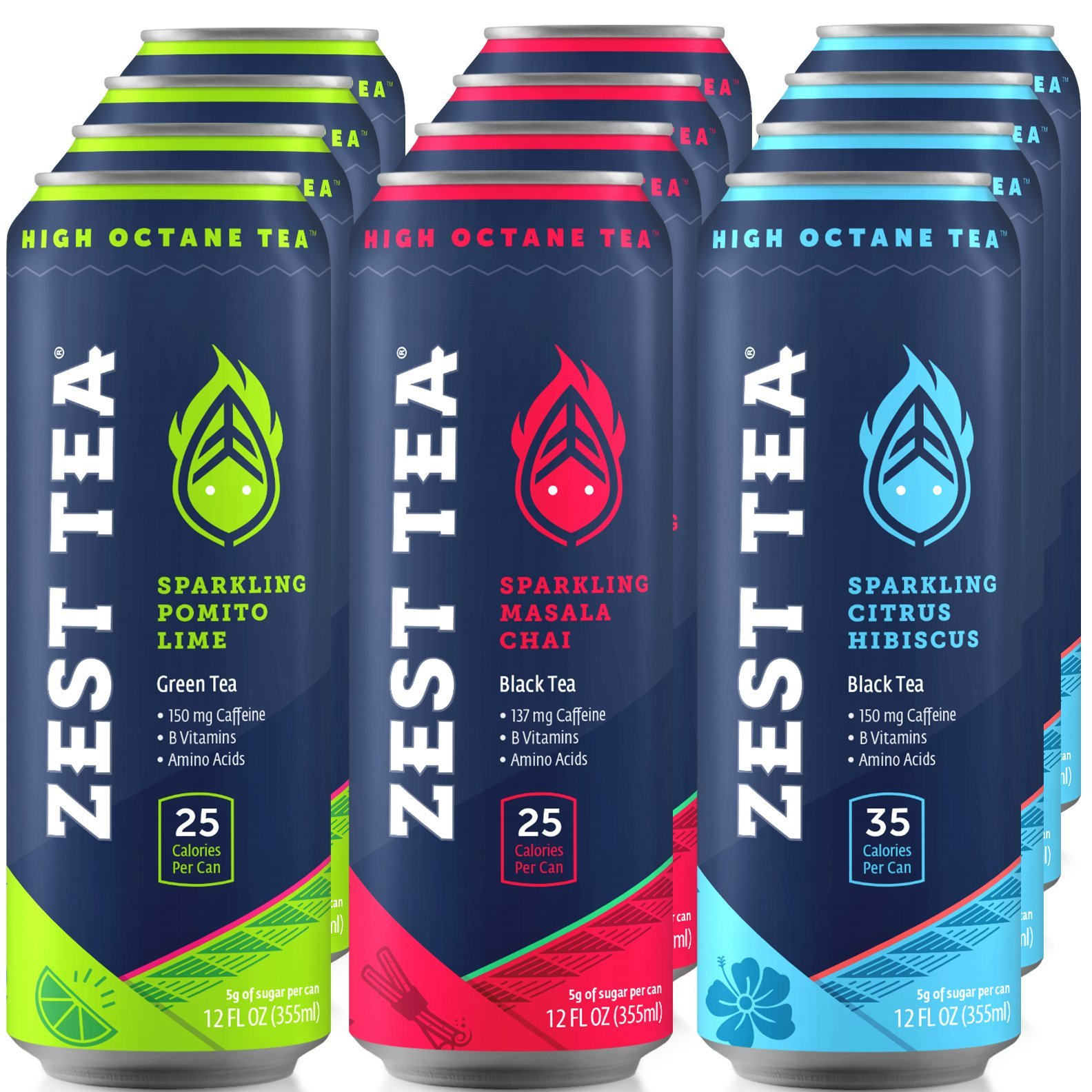 Energy Tea Variety Pack | High Caffeine Ice Tea | Low Calories & Low Sugar |