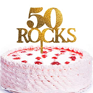 JennyGems Birthday Cake Topper 50 Rocks