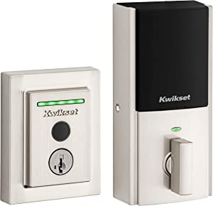 Kwikset Halo Touch Contemporary Square Wi-Fi Fingerprint Smart Lock No Hub Required Featuring SmartKey Security in Satin Nickel (99590-003)