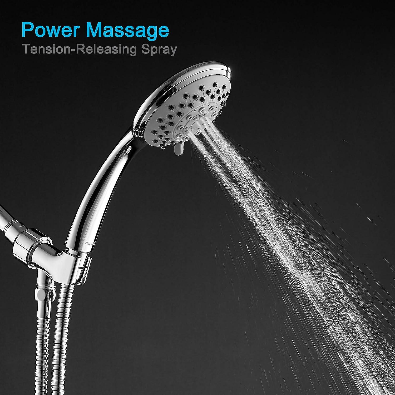 Hochdruck-Duschkopf mit Handheld∣Abnehmbarer Duschkopf mit Schlauch und verstellbarer Halterung∣Badezimmer-Regenduschkopf-Massagespray Chrom-Duschkopf Auslaufsicher Gefiltert mit 6 Funktionen