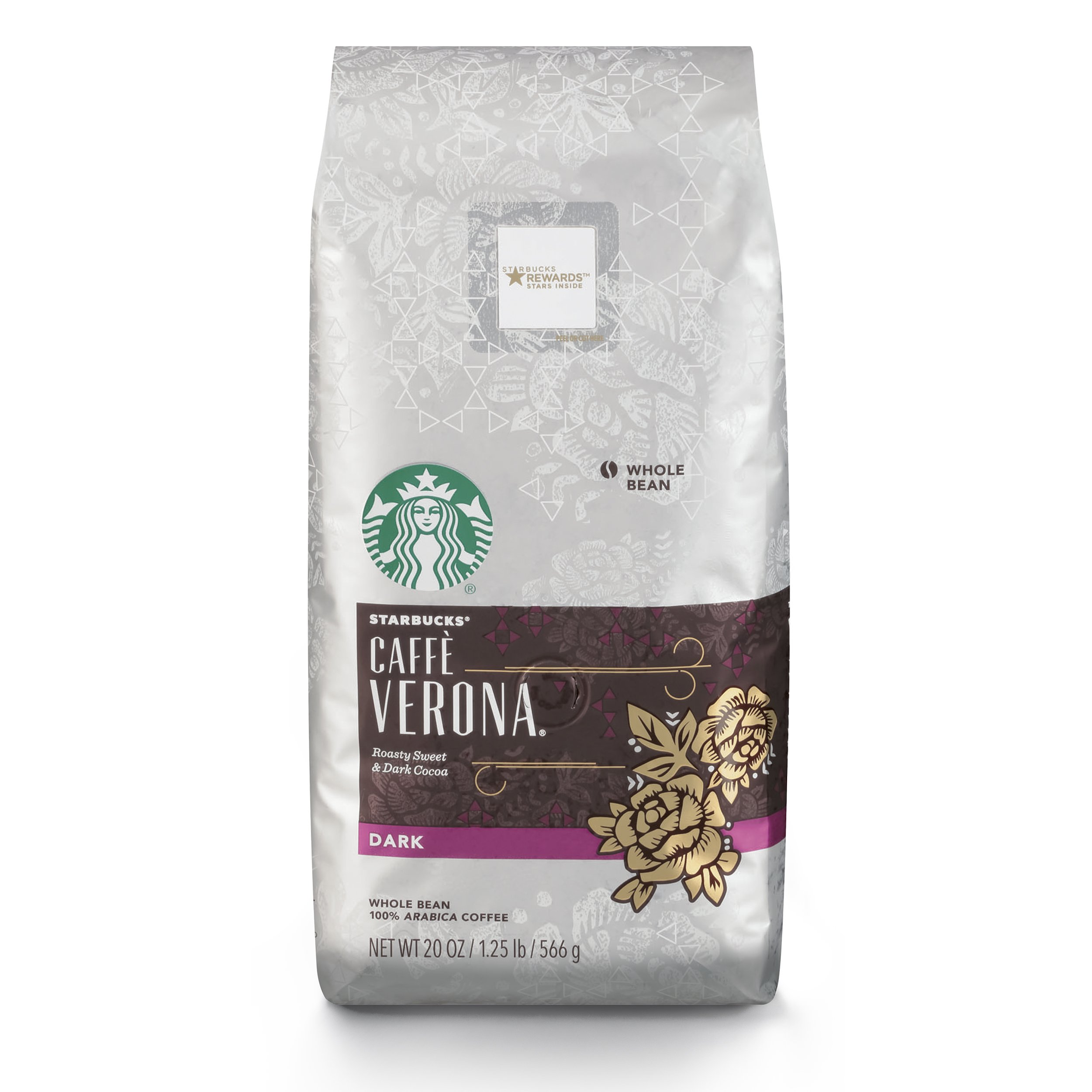 Starbucks Caffe Verona Dark Roast Whole Bean Coffee, 20-Ounce Bag