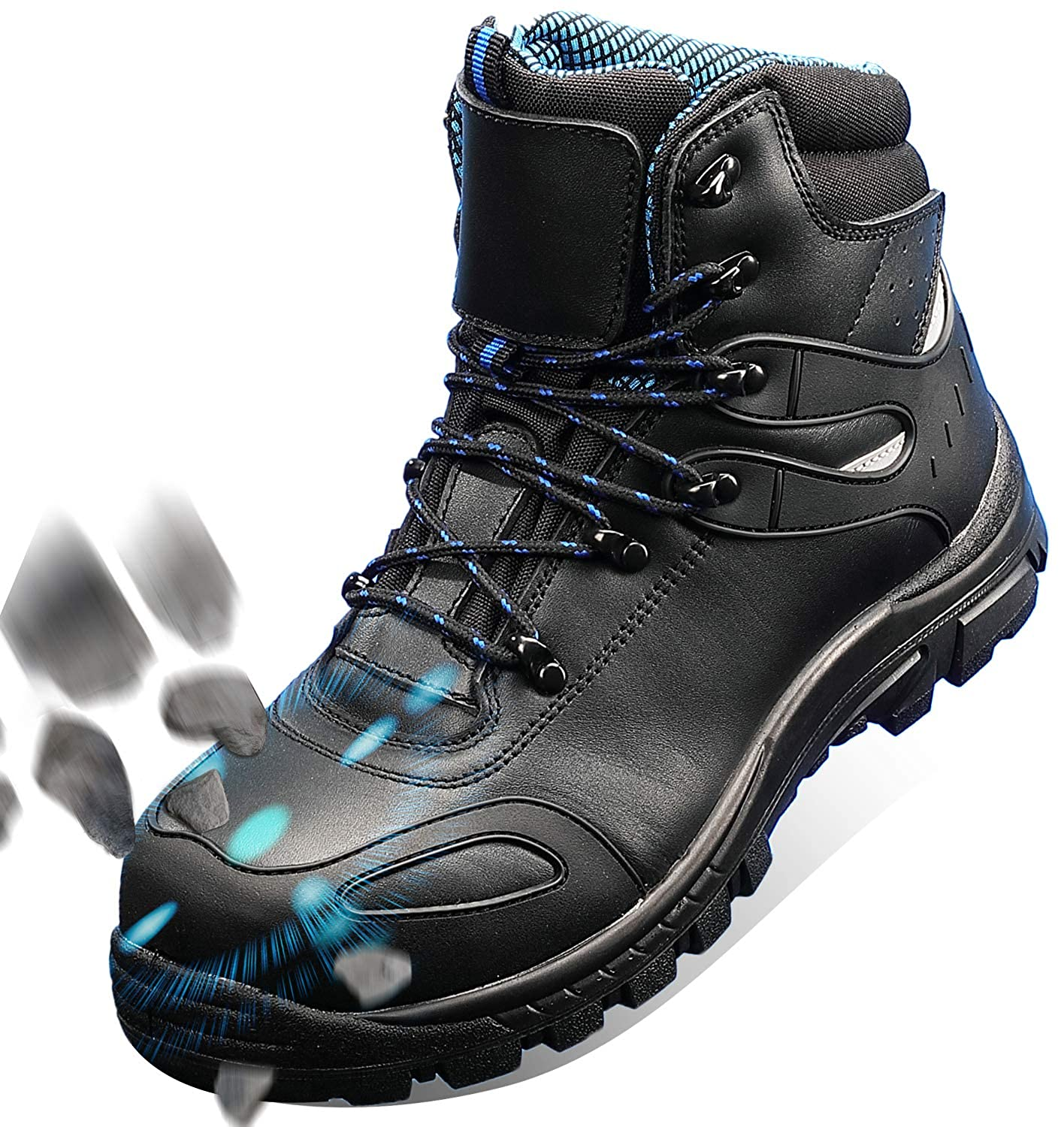 Anti-Slip Anti-Puncture Anti-Static Working Shoes 10.5, Black Composite Toe Waterproof Leather Safety Shoes GLORYA Work Boots for Men
