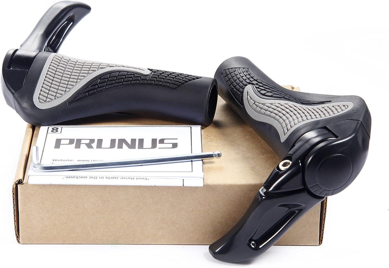 Puños PRUNUS para Manillar de Bicicleta diseño ergonómico Caucho Bici de montaña MTB o BMX