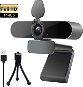 Webcam with Microphone, Portable 2K 1440P HD Wide Angle Steaming Web Camera for Desktop Computer Laptop with Tripod, Great for Video Calling, Conference, Recording and Gaming