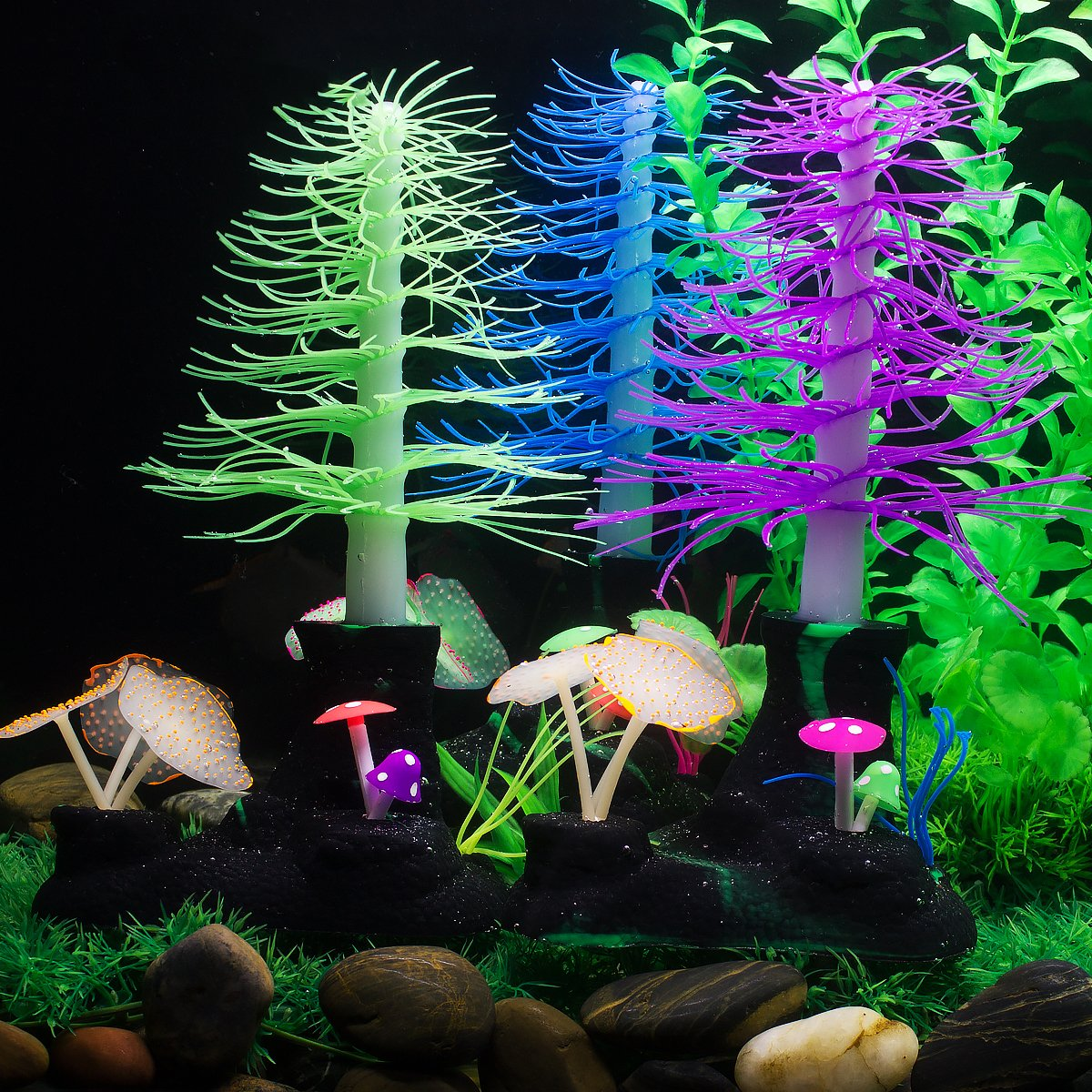saim aquarium artificial decorative christmas tree with mushroom coral plants ornament decor for fish tank decorations - Christmas Aquarium Decorations