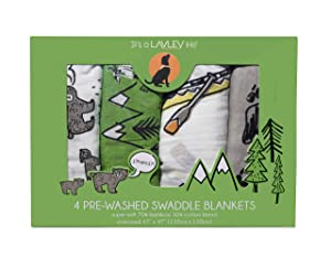 4 Pack - Camping Mountain Theme Baby Swaddle Pack - Super Soft Breathable 70% Bamboo 30% Cotton Blend - 47 in x 47 in Oversized - Perfect Mountain Theme Baby Shower Gift - Woodland Swaddle Blankets