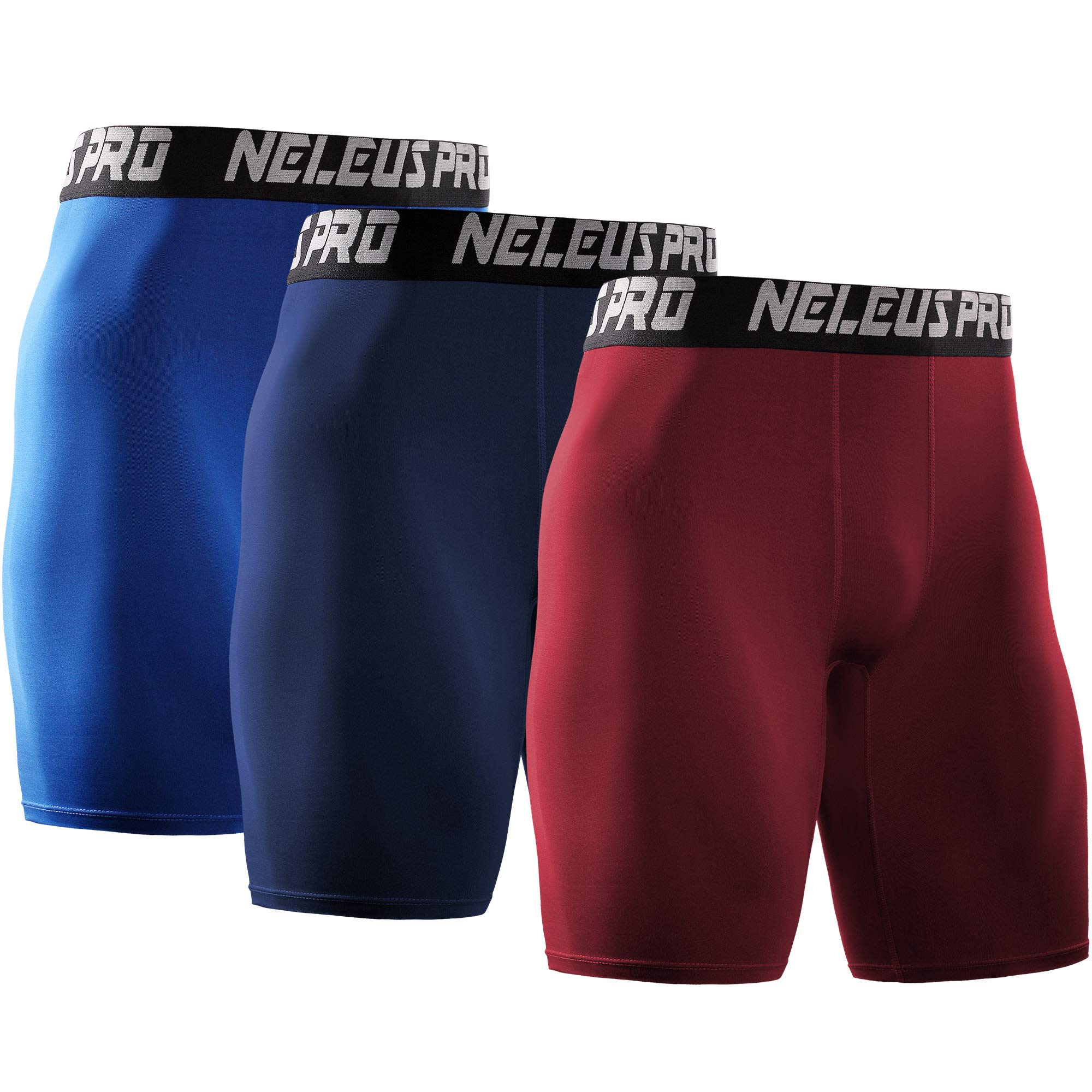 Neleus Men's 3 Pack Athletic Compression Short,6028,Blue,Navy,Red,US XS,EU S by Neleus