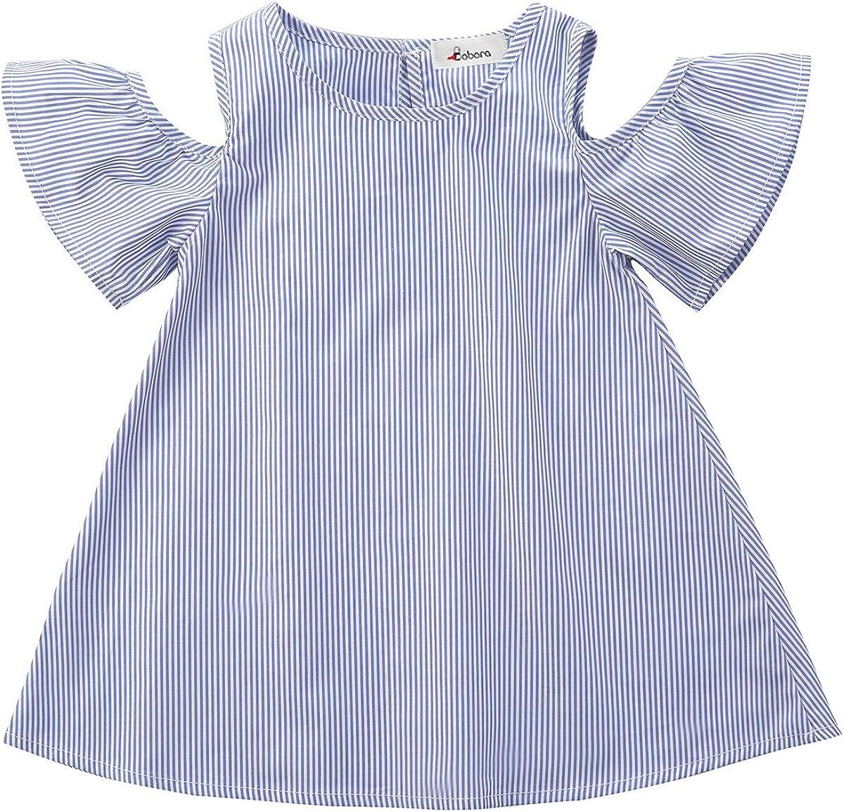 BOBORA Toddler Baby Girl Summer Off Shoulder Stripe Dress Outfit