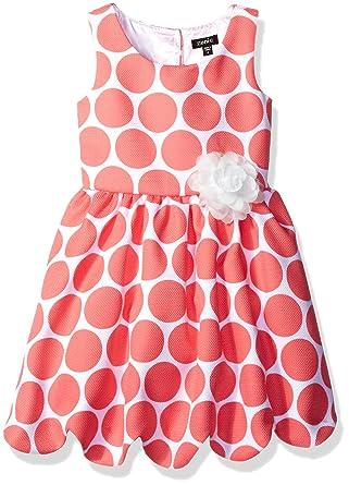 abea27714 Amazon.com: ZUNIE Girls' Polka Dot Pique Scalloped Hem Dress: Clothing
