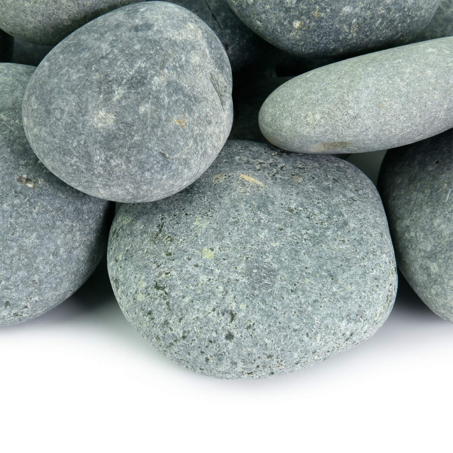 Mexican Beach Pebbles | 2000 Pounds of Smooth Unpolished Stones | Hand-Picked, Premium Pebbles for Garden and Landscape Design | Black, 3 Inch - 5 Inch