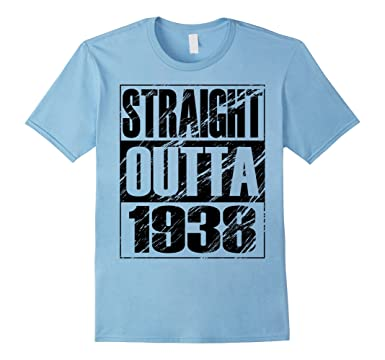 Mens Funny Straight Outta 1938 80th Birthday T Shirt Vintage Gift 2XL Baby Blue