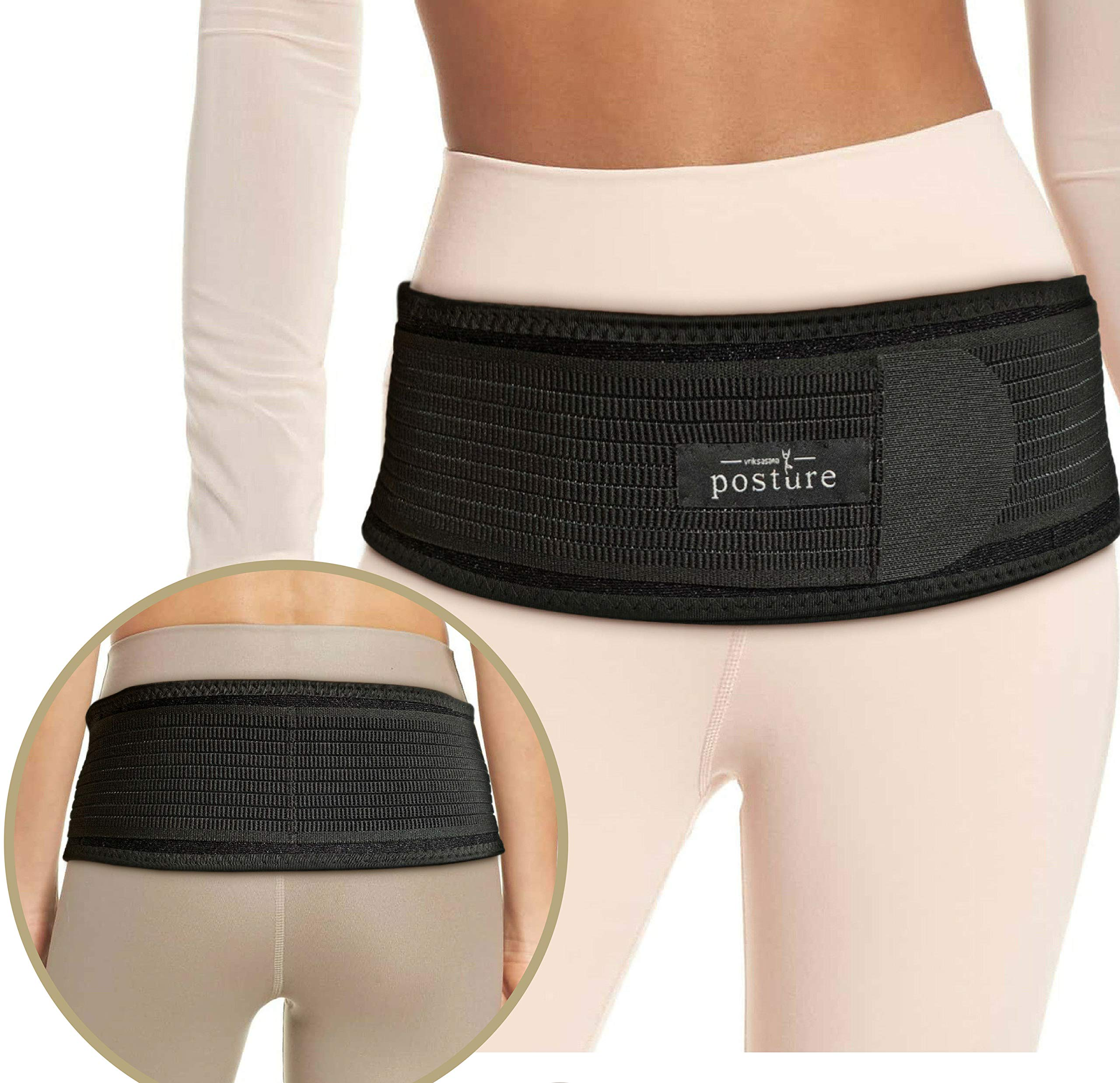 Original Sacroiliac Hip Belt for Women and Men That Alleviate Sciatic, Pelvic, Lower Back and Leg Pain, Stabilize SI Joint | Trochanter Belt | Anti-Slip and Pilling-Resistant (Black, Regular)