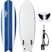 THURSO SURF Lancer 5'10'' Fish Soft Top Surfboard Package Includes Twin Fins Double Stainless Steel Swivel Leash EPS Core IXPE Deck HDPE Slick Bottom Built in Non Slip Deck Grip