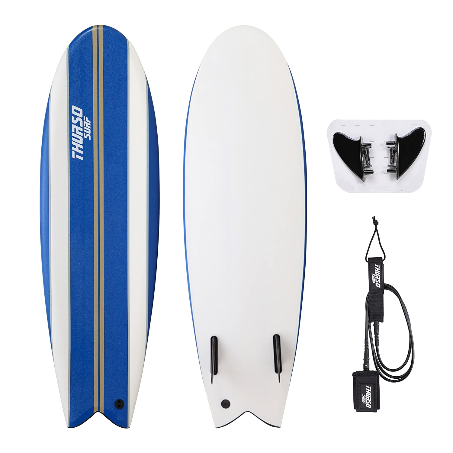 THURSO SURF Lancer 5 10 Fish Soft Top Surfboard Package Includes Twin Fins Double Stainless Steel Swivel Leash EPS Core IXPE Deck HDPE Slick Bottom Built in Non Slip Deck Grip